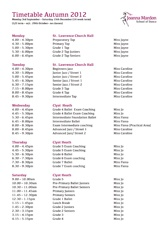 Joanna Mardon School of Dance Autumn 2012 Timetable download