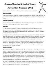 Joanna Mardon Summer Newsletter 2012