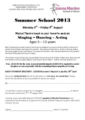 Joanna Mardon School of Dance (Exeter) Summer School 2013 booking form