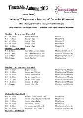 Joanna Mardon School of Dance Autumn 2013 Timetable pdf download