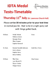 IDTA Medal Tests Timetable 11th July as a pdf