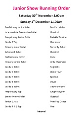 Joanna Mardon School of Dance, Exeter Junior Show running order for 20th Anniversary Show 2013