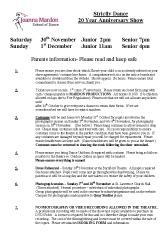 Joanna Mardon School of Dance, Exeter - Strictly Dance Show - Parents Information PDF download