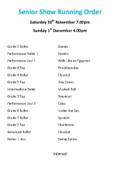 Joanna Mardon School of Dance, Exeter Senior Show running order for 20th Anniversary Show 2013
