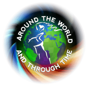 Joanna Mardon School of Dance Around the World & Through Time Circle Logo