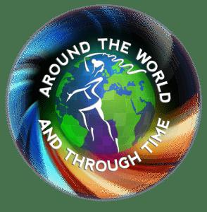 Joanna Mardon School of Dance Around the World & Through Time Circle Logo