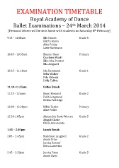 Joanna Mardon School of Dance RAD examination timetable 24th March 2014 pdf download