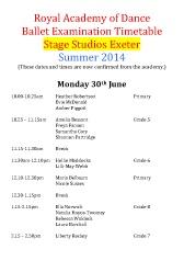 Joanna Mardon School of Dance RAD Exam Timetable Summer 2014 pdf download