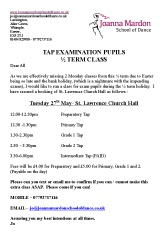 Joanna Mardon School of Dance half term Tap Examination Coaching Class pdf download