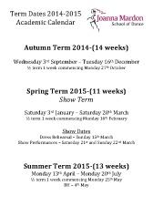 Joanna Mardon School of Dance Term Dates Academic calendar 2014-2015