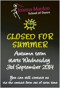 Joanna Mardon School of Dance, Exeter teaching Ballet, Jazz & Tap - Closed for summer - Autumn term starts 3rd September 2014
