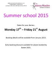 Exeter Dance Summer School 2015 information