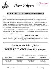 Exeter Dance Show helpers 2015 Request Form Joanna Mardon School of Dance pdf download