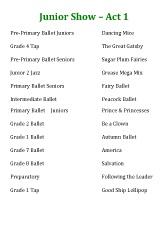 Joanna Mardon School of Dance Born to Dance Junior Show Running Order download pdf