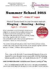 Joanna Mardon School of Dance Summer School booking form 2015 download