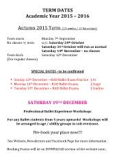 Joanna Mardon School of Dance Ballet Tap Jazz Exeter Term dates 2015-2016