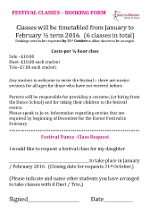 Joanna Mardon School of Dance Exeter Festival Classes Booking Form