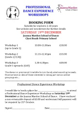 Joanna Mardon School of Dance Exeter Professional Workshop Booking Form