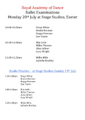 Royal Academy of Dance Timetable 20th July pdf download