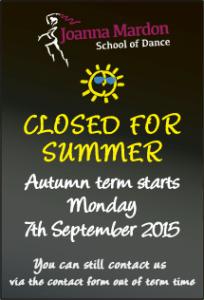 Joanna Mardon School of Dance, Exeter teaching Ballet, Jazz & Tap - Closed for summer - Autumn term starts 7th September 2015