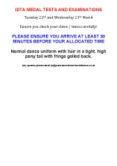 IDTA Tap Medal Tests & Examinations information for Joanna Mardon School of Dance students download