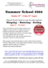 Joanna Mardon School of Dance Summer School Booking Form 2016