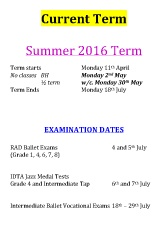 Joanna Mardon School of Dance Summer Term 2016 Exam Dates
