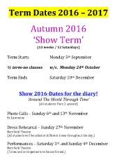 Joanna Mardon School of Dance Term Dates 2016-2017