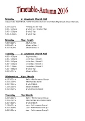 Joanna Mardon School of Dance Autumn 2016 Timetable pdf download
