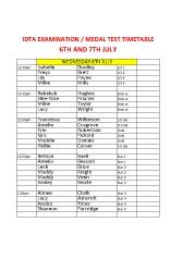Joanna Mardon School of Dance July IDTA Exam Timetable pdf download