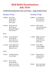 Joanna Mardon School of Dance RAD Ballet Examinations July 2016 pdf download