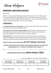 Joanna Mardon School of Dance 2016 show helpers request form