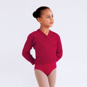 Burgundy Cross-over Cardigan for Ballet Grade 4 & 5 Joanna Mardon School of Dance