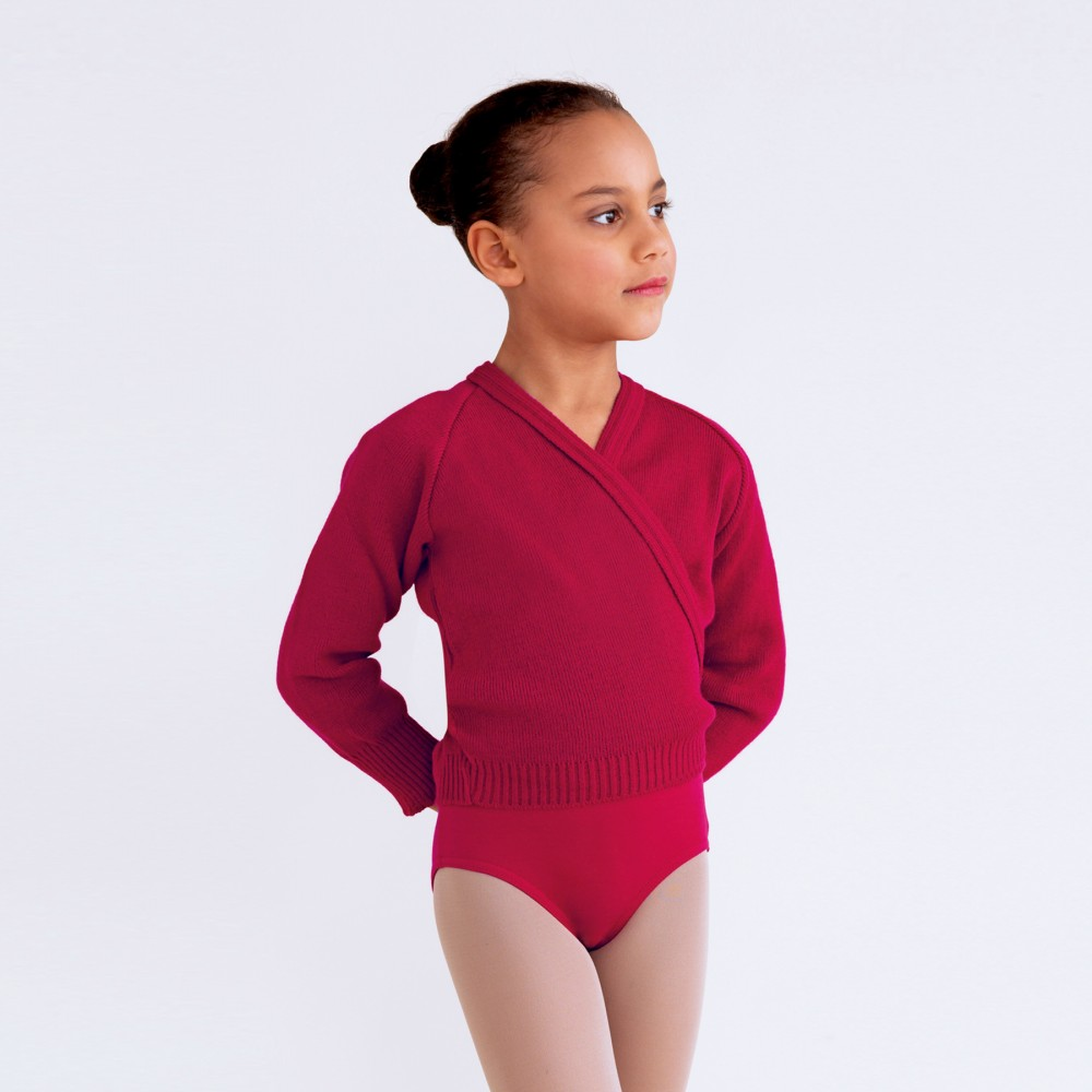 Burgundy Cross-over Cardigan for Ballet Grade 4 & 5 Joanna Mardon School of Dance