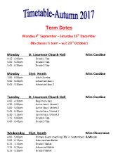 Joanna Mardon School of Dance Autumn 2017 Timetable and Term Dates pdf download