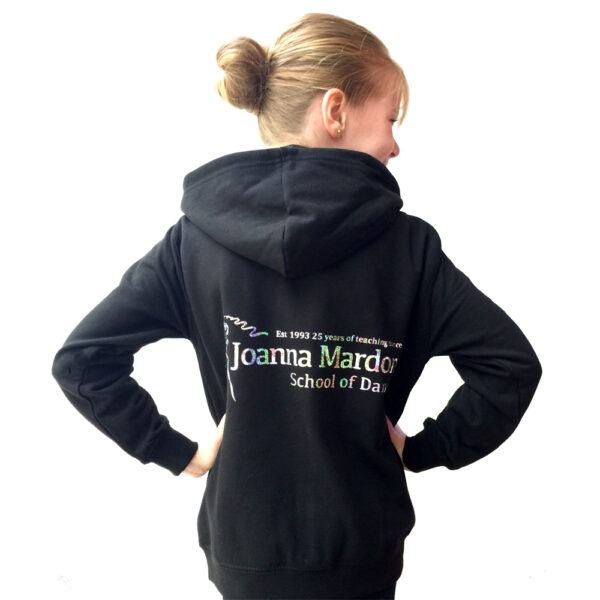 Black Zipped Hoodie Joanna Mardon School of Dance logo back
