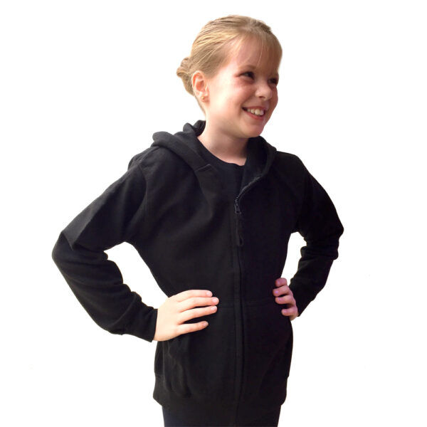 Black Zipped Hoodie Joanna Mardon School of Dance logo front