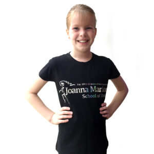 Fitted Quality T Shirt Joanna Mardon School of Dance logo