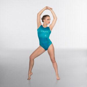 Hologram Shine Sleeveless Leotard Turquiose Joanna Mardon School of Dance