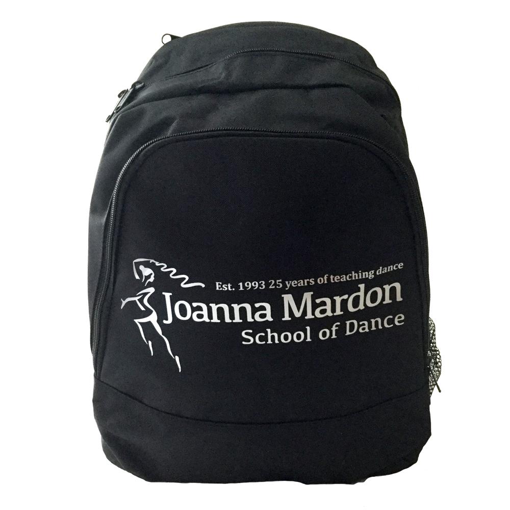 Rucksack Joanna Mardon School of Dance logo Front Silver