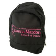 Rucksack Joanna Mardon School of Dance logo Side Pink