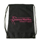 Shoe Bag Joanna Mardon School of Dance logo Flat Pink