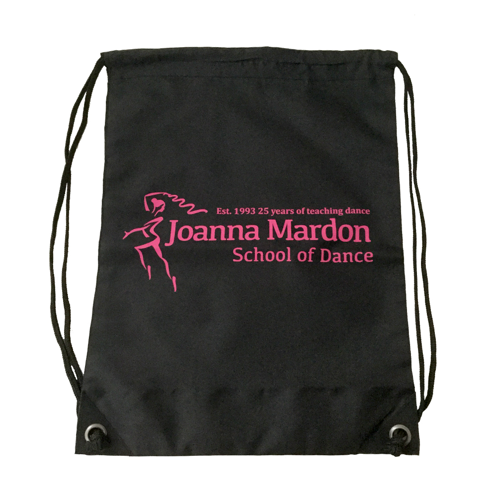 Shoe Bag Joanna Mardon School of Dance logo Flat Pink