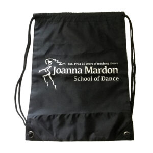 Shoe Bag Joanna Mardon School of Dance logo Flat Silver