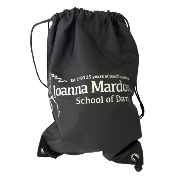 Shoe Bag Joanna Mardon School of Dance logo Silver