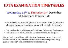 Joanna Mardon School of Dance IDTA Examination Timetable information pdf download