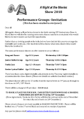 Joanna Mardon School of Dance Performance Group Invitation Letter and Booking Form download