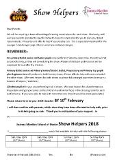 Joanna Mardon School of Dance Show helpers 2018 Request Form