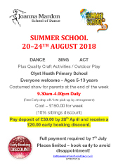 Joanna Mardon School of Dance Summer School 2018