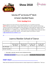 Joanna Mardon School of Dance - A night at the Movies Show 2018 tickets booking form download